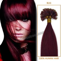 18-22 inch Straight Wine Red U-tip Hair Extensions 0.5g/strand 100 strand/set Burgandy Nail tip Fusion Hair Extensions