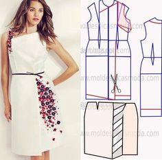 molde de vestido branco