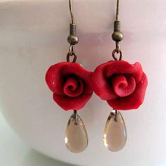 Maroon Rose Dangle Earrings  Polymer Clay by beadscraftz on Etsy