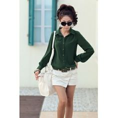 USD9.492013 Spring New Style Korea Turndown Collar Long Sleeve Solid Green Cotton Blouse