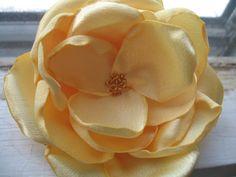 Cream Yellow Fabric Flower Brooch  Spring Summer Bridal by Armeria, $14.00