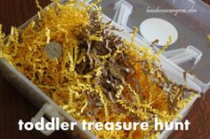 A treasure hunt for coins! A toddler sensory tub!