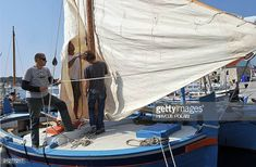 A crew of a traditional Croatian boat prepare for the 12th traditional Croatian wooden lateen sail