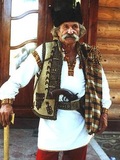 A Hutsul in a traditional dress.