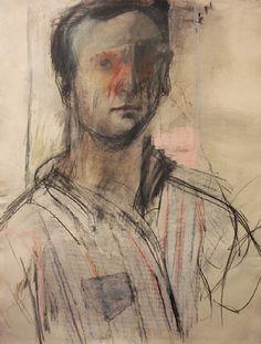 Self Portrait (1953) by American artist Larry Rivers (1923-2002). Charcoal, pastel & graphite on paper, 24.8 x 19 in. via Forum Gallery on artnet