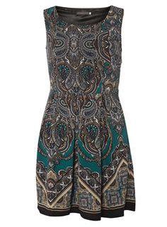 **Tenki Green Paisley Skater Dress