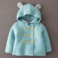 52 Free Beautiful Baby Knitting & Crochet Patterns for 2019 - Page 14 of 56 - Crochet Blog! Crochet Baby, Knit Crochet, Knitted Baby, Knitted Coat, Knit Jacket, Hooded Jacket, Bear Jacket, Bear Coat, Hooded Sweater