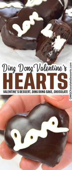 Ding Dong Valentine's Chocolate Hearts are a delicious, fun and festive Valentine's Day treat! #chocolate #heart #valentines #treat #ding #dong Valentine Desserts, Valentines Day Food, Holiday Desserts, Holiday Baking, Just Desserts, Holiday Recipes, Delicious Desserts, Valentines Recipes, Easy Cake Recipes