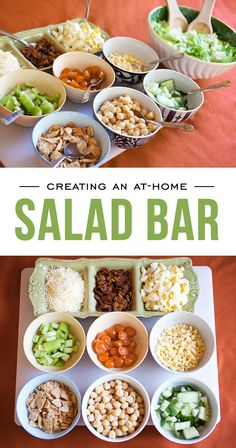 Kids love to eat what they have a hand in creating! Put together an at-home salad bar with simple, healthy ingredients and let them be creative with helping prepare and choosing their own salad toppings!