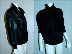 vintage black BALLY leather bomber jacket / lamb leather reversible nubuck – Retro Trend Vintage