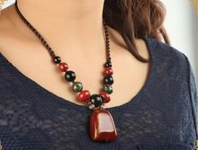 Handmade natural stone necklace/tribal retro bohemian tibetan jewelry women/collier/jewellery/bisuteria/bijoux/kolye/gargantilha(China (Mainland))