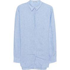 ACNE STUDIOS Bela Li Blue // Oversize linen blouse (1 265 PLN) ❤ liked on Polyvore featuring tops, blouses, oversized blouse, blue top, blue blouse, linen tops and acne studios