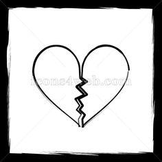 Outline design in high resolution and well suited for web or print use. Broken Heart Sketch, Sketch Icon, Web Design Icon, Find Icons, Website Icons, Outline Designs, Background Banner, Divorce, Breakup