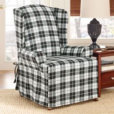 Small Sectional Sofa Surefit Soft Suede Plaid Wing Chair Slipcover Walmart