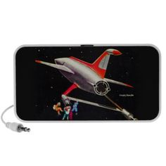 Science Fiction Galaxy Spaceship Astronauts Mars Laptop Speakers #vintage #scifi #spaceship #space #iconographique