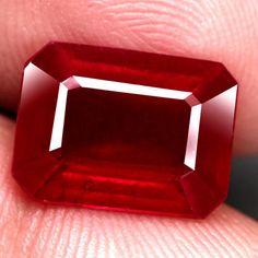 6.24 Ct. Interesting! Natural Ruby Octagon Facet Top Blood Red Madagascar #Gemnatural