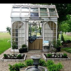 Green House from recycled windows and doors.