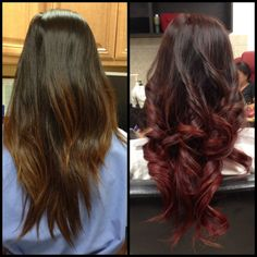 Burgundy Ombre and curls. | In love!