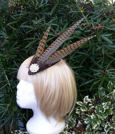 pheasant feather and sinamay hair fascinator http://countrycraftybits.co.uk