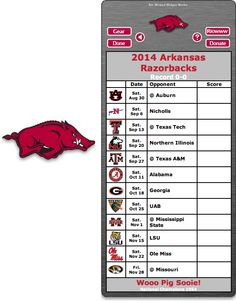 Free 2014 Arkansas Razorbacks Football Schedule Widget for Mac OS X - Wooo Pig Sooie! - National Champions 1964  http://riowww.com/teamPages/Arkansas_Razorbacks.htm