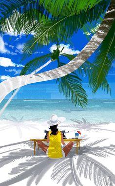 Illustration Art: Shiny Summer Illustrations by Pascal Campion Pascal Campion, Beach Illustration, Caribbean Art, Tropical Art, Beach Art, Cartoon Art, Illustrators, Folk Art, Art Drawings