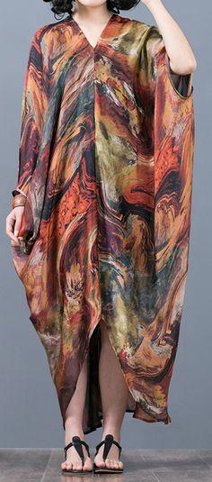 47d9d01e65b1 top quality khaki prints long silk dresses Loose fitting v neck traveling  dress 2018 asymmetric kaftans