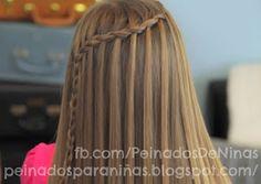 PEINADOS CON TRENZAS CASCADA PARA NIÑAS: SIMPLE Y DOBLE peinadosparaniñas.blogspot.com