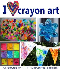 Lots of great crayon art ideas here. My toddler loves these kinds of things!