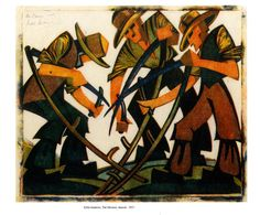 Sybil Andrews THE       MOWERS 1937 Sybil Andrews (19 April 1898 - 21 December 1992) was a British-born (Bury St Edmunds) Canadian printmaker best known for her modernist linocuts.(http://en.wikipedia.org/wiki/Sybil_Andrews)