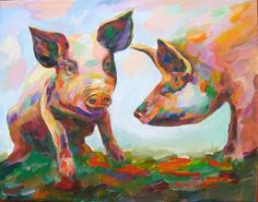 Hog consultation by Naomi Gerrard Pig Pig, Pig Drawing, Oil Water, This Little Piggy, Pigs, Fine Art Prints, Moose Art, Backgrounds, Paintings