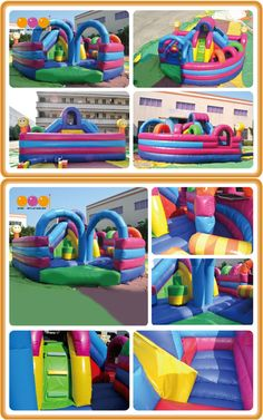 AQ141  	 (10*10*6m / 7*7*3m [32.80'*32.80'*19.69' / 22.97' *22.97' *9.84'])  Enjoy the sun with the inflatable obstacle courses .The inflatable playground with a portable design and features a huge slide ,funny obstacle,crawl tunnel.
