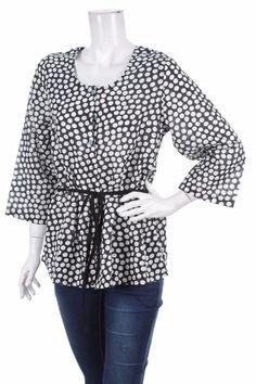 BNWT Gudrun Sjoden Sjödén WOMEN'S TOP BLOUSE SHIRT BLACK WHITE DOTS Size 6 M NEW #GudrunSjdn #Blouse #Casual