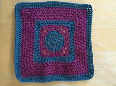 """12"""" square for Woolly Hugs in petrol and plum. Classic colours for kinship blanket"""