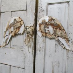 Wings Wall Decor large metal angel wings wall decor, distressed gold, ivory