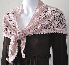 Lace Shawl With Picot Hem Knitting Pattern (free) - beautiful shawl knit with DK Silk.