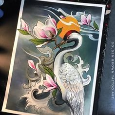 Japanese crane and magnolia, fusion ink on paper Small Japanese Tattoo, Japanese Tattoo Women, Japanese Dragon Tattoos, Traditional Japanese Tattoos, Japanese Tattoo Designs, Japanese Sleeve Tattoos, Dragon Tattoo Back Piece, Dragon Sleeve Tattoos, Sleeve Tattoos For Women
