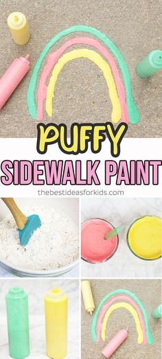 Get the recipe for this fun and easy puffy sidewalk paint! This is so simple to make you'll likely have all the ingredients at home! Perfect for a summer boredom buster, summer kids activity, sidewalk chalk idea! #bestideasforkids #summer #sidewalk #summerideas #kidscraft #kidsactivity via @bestideaskids