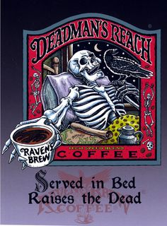 """""""Deadman's Reach"""", pen and ink with digital color, 11 """" x 10 """", 2000, © Ravens Brew Coffee , artwork by Ray Troll"""