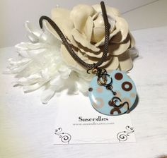 Brown Wire Wrapped Button Crystal Pendant Necklace by Susoodles