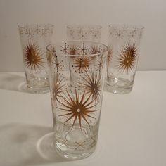4 Atomic Starburst Snowflake Tumblers Signed Wm A Meier Mid Century Modern Drinking Glasses.