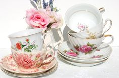 Lovely  Tea Cups and Saucers Set of 5. Mismatched by EcoIdeology