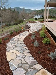 walkways made with landscaping timbers and pea gravel | flagstone walkway: Dock Ideas, Flagstone Walkways, Frazier Flagstone ...