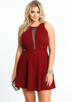 Plunge neck dress plus size