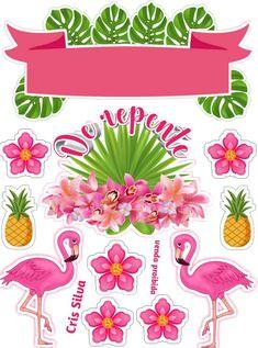 Hawaiian Party Decorations, Hawaiian Luau Party, Flamingo Cake, Flamingo Party, Caramel Ganache, Notebook Art, Baptism Party, Printable Crafts, Box Frames
