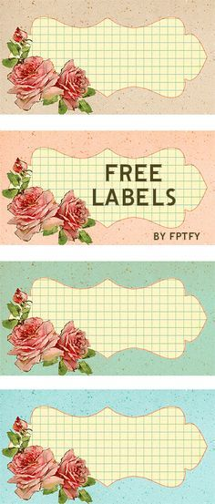 Vintage Labels Personalized Labels: Vintage Rose - Free Pretty Things For You - Personalized Labels: Vintage Rose Printable Scrapbook Paper, Printable Paper, Vintage Labels, Vintage Cards, Vintage Paper, Vintage Diy, Vintage Ephemera, Vintage Images, Etiquette Vintage