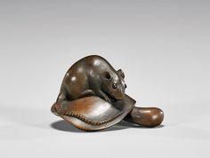 Rat on a Mushroom- wood netsuke