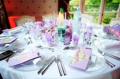 The light purple table at my wedding (10 different tables with one different color each). #Multicolor wedding