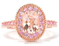 Oval Morganite Pink Sapphire Halo Rose Gold Ring
