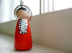 mooshoo keychain peg doll.. now you can take your mooshoo with you!   #folkart #etsy #keychain