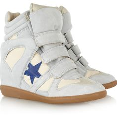 Isabel Marant|Bayley suede and leather high-top sneakers|... ($595) via Polyvore